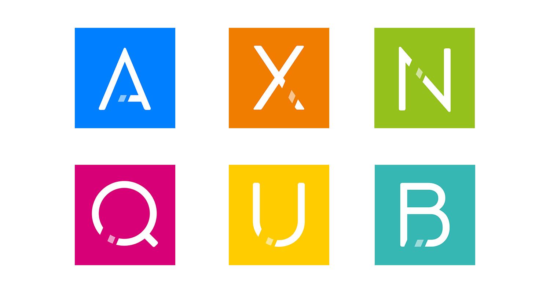 Schmetterling Softwarelösungen - Logos der Produkte ARGUS, XENA, NEO, QUADRA, URANIA und BOMBYX