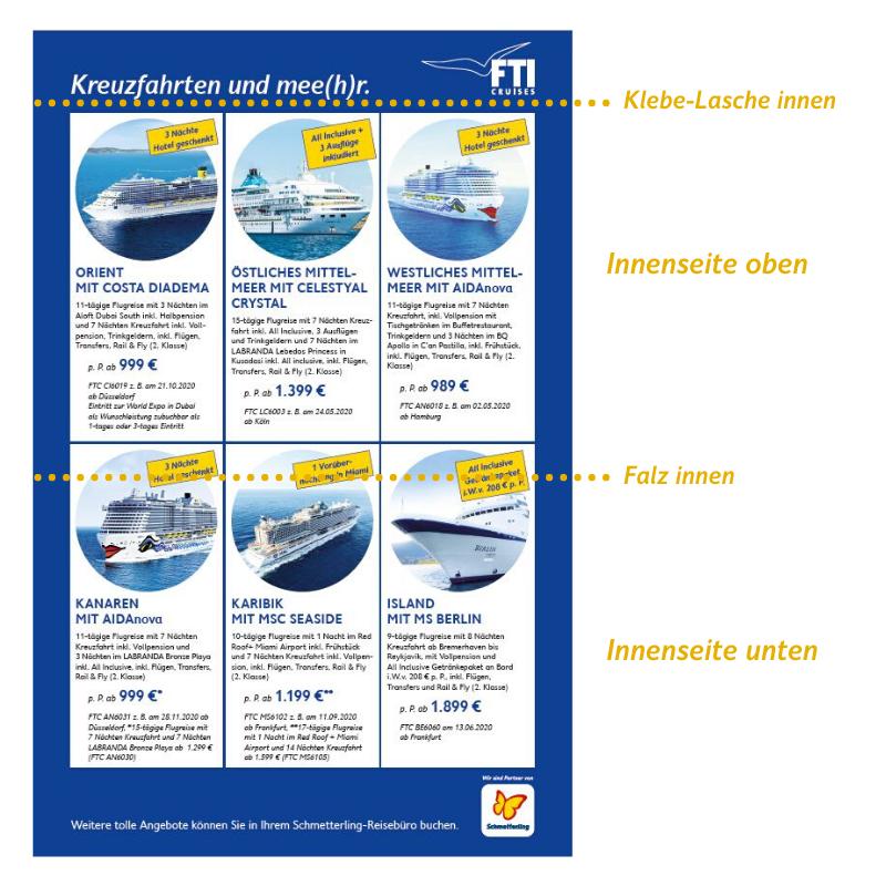 FTI Cruises Postkartenmailing: Ansicht Innenseite
