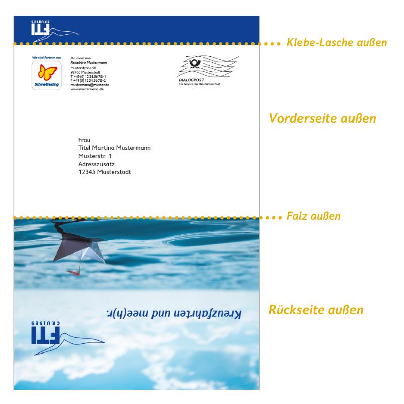 FTI Cruises Postkartenmailing: Ansicht Außenseite
